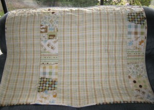 yellow and green baby quilt back