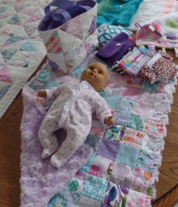 Baby doll, doll diapers and doll quilt